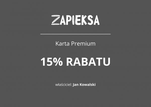 Karta Premium Zapieksy - 15% rabatu